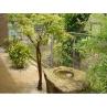 側庭の水鉢も解体現場より引き取り再活用/マサ土舗装の庭