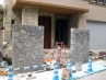 石をモチーフにした高級外構工事  施工現場2