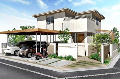 オーセブンCAD 07ギャラリー プラン 110 フラット屋根のモダンスタイル住宅のためのエクステリアプラン 全景