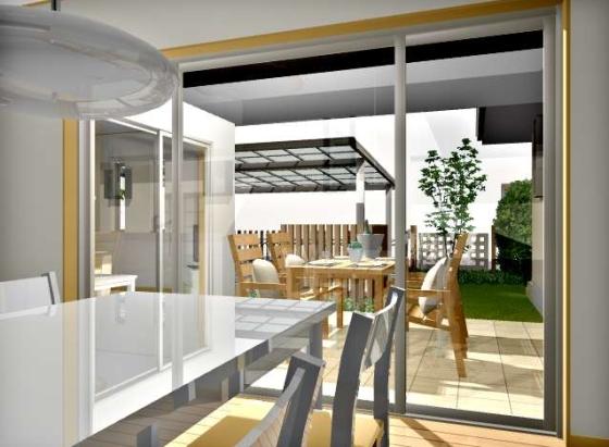 バージョン9.5【建物デザイナー】室内から中庭の眺め(昼間)