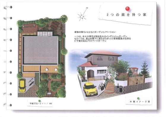 2つの庭を持つ家