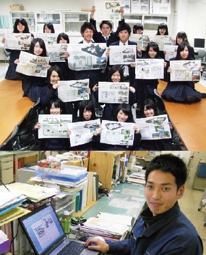 環境デザイン科の伊富先生と生徒の皆さん