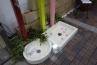 ガーデン立水栓用のシャワープレイス、ガーデンパンもありました。ワンちゃんの足跡がキュート。
