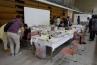 ワークショップも2Fで開かれていました。ガラスポットへの寄植講座でした。テーマは日替わりで、苔玉などもあったとのこと。