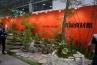 そのお向かいには、石材をフィーチャーしたモデル庭園ブース。造園資材館、愛知県の竹藤商店ブースです。