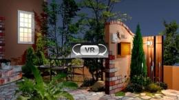 ファンシーな洋風エクステリアの門周りプラン 夜景VR動画