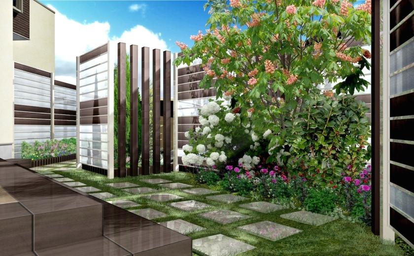 ガーデンから。半透明の樹脂は、庭に明るさをもたらします。