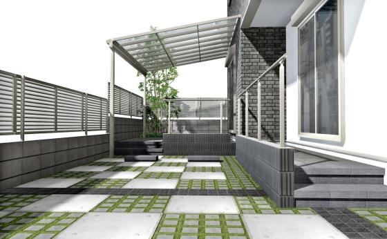 モノトーンに映える緑がスタイリッシュなエクステリアプラン:南側のオープンスペース