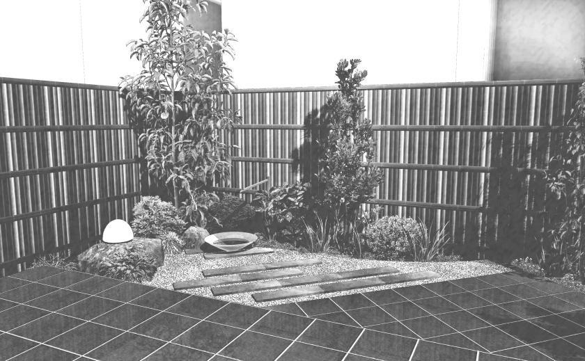 和モダンスタイルのオープンエクステリア:和モダン庭園(SPパレット仕上)