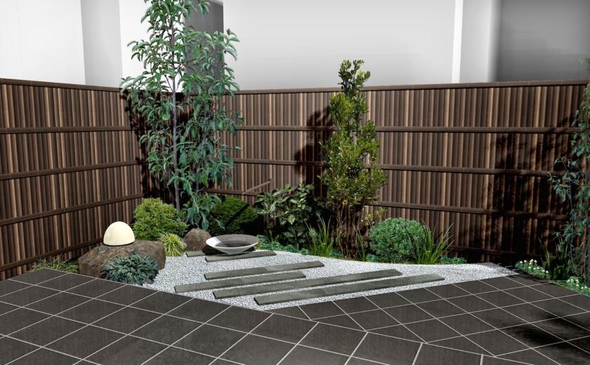 和モダンスタイルのオープンエクステリア:和モダン庭園