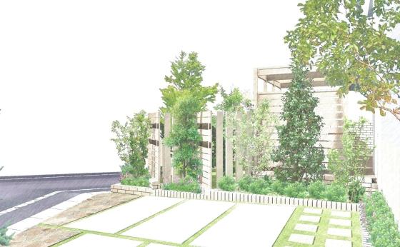 ホワイト基調のオープン外構プラン プライベートガーデン 駐車場と植栽スペース