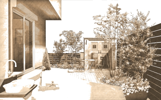 高低差のあるプロヴァンス風セミオープンスタイルプラン:家族のためのガーデンスペース