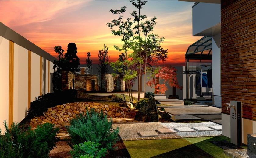 ゆとりを楽しむためのオーソドックスなガーデンエクステリアプラン:主庭を入り口方向から眺める