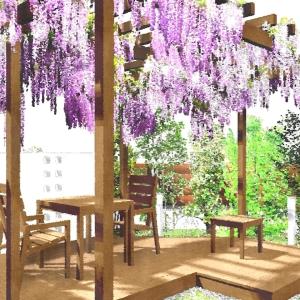 ゆとりを楽しむためのオーソドックスなガーデンエクステリアプラン:新緑の藤棚