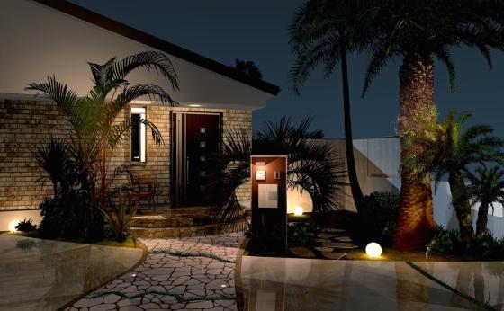 海沿いのリゾートを楽しむためのエクステリア・ガーデンプラン:ファサード夜景