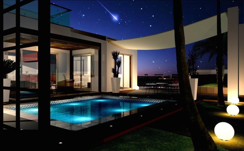 海沿いのリゾートを楽しむためのエクステリア・ガーデンプラン:ガーデンプール夜景