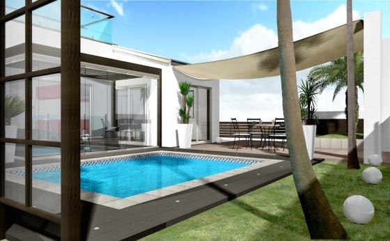 海沿いのリゾートを楽しむためのエクステリア・ガーデンプラン:ガーデンプール