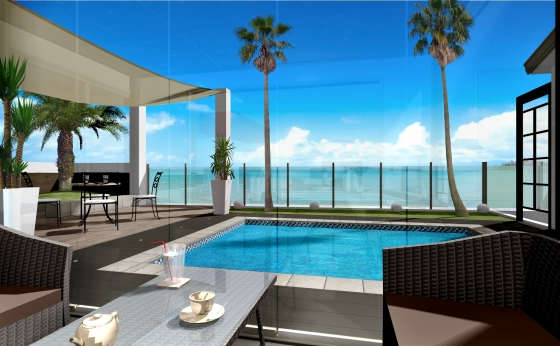海沿いのリゾートを楽しむためのエクステリア・ガーデンプラン:ガーデンルームから