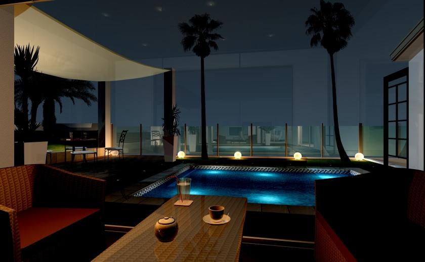 海沿いのリゾートを楽しむためのエクステリア・ガーデンプラン:ガーデンルームから夜景