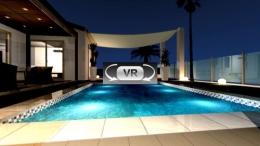 海沿いのリゾートを楽しむためのエクステリア・ガーデンプラン:VR夜景