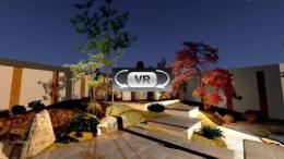 ゆとりを楽しむためのオーソドックスなガーデンエクステリアプラン:主庭VR