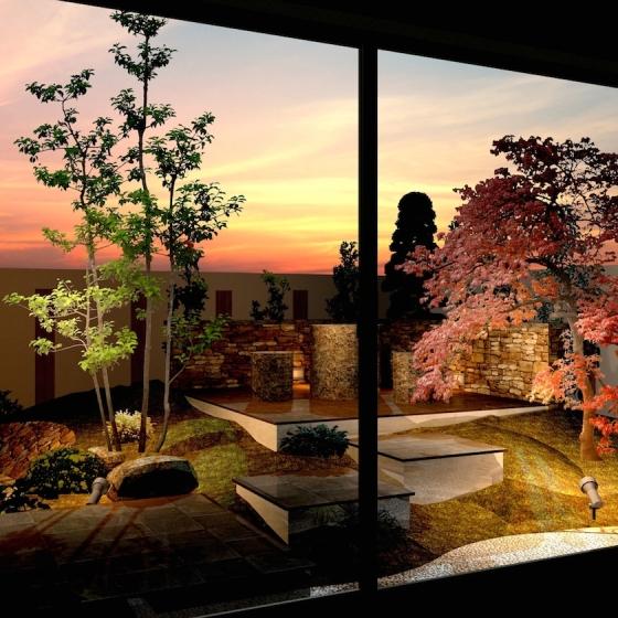 ゆとりを楽しむためのオーソドックスなガーデンエクステリアプラン:主庭を部屋から眺める