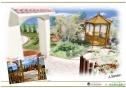 石畳と碧の南欧風ガーデン