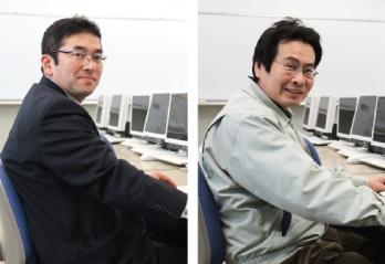 環境科の森林・土木設計コースを担当する教頭 竹内先生とフラワー・ガーデンコースを担当する山田先生
