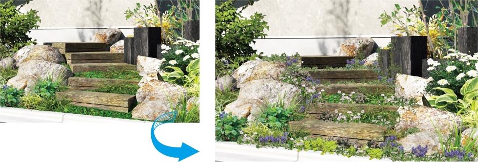 葉や花が自然な仕上がり「レタッチ機能」