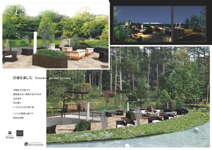 目線を楽しむ Concave garden terrace