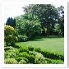 テラスより 庭を眺める。奥にガゼボ。