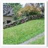 囲い込みで使われた石垣も 勾配になじんでいる。足元の花がいいですね。