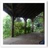 サマーハウスは後方は土留めの壁 前方は柱梁の木工法。