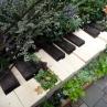 �はなうた:鍵盤を模した植栽スペース。何か心地いい曲が流れてきそうです。
