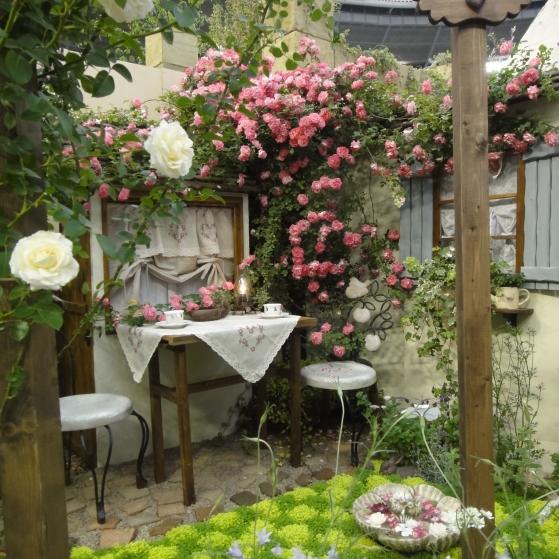 バラが満開のお庭。市松模様のグランドカバーがきれいです。